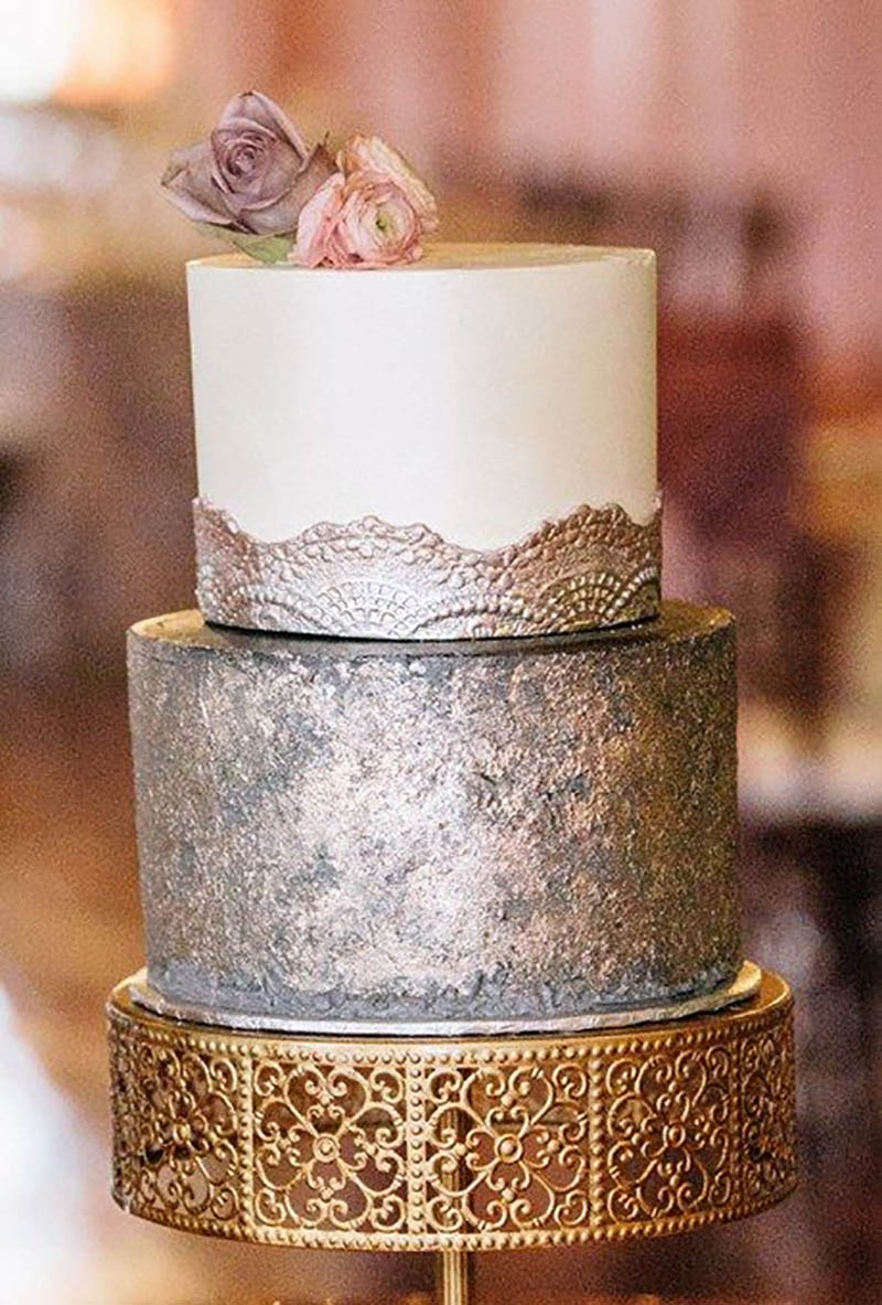 Wedding Trends 2018 ~ Metallic Wedding Cakes. Opulent Treasures offers a gorgeous selection of metallic toned cake stands and more