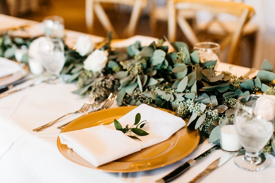 gold and greenery wedding table decor