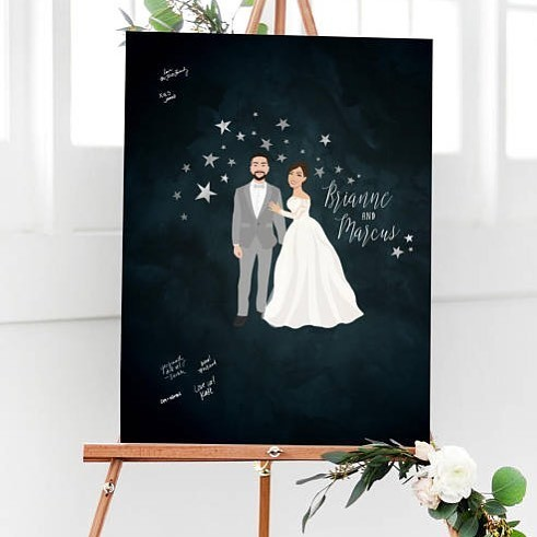 A fun, limited edition portrait guest book - the starry night :) ✨Stars ✨are THE trend for 2018 Weddings, and we are over the moon
