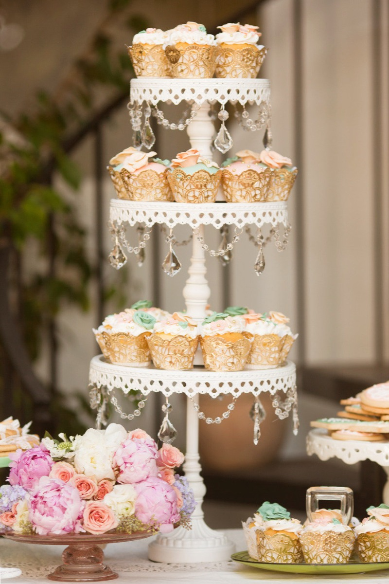 Cupcake Tower! Opulent Treasures (set of three) chandelier cake stands are perfect for stacking to get this look for your wedding or