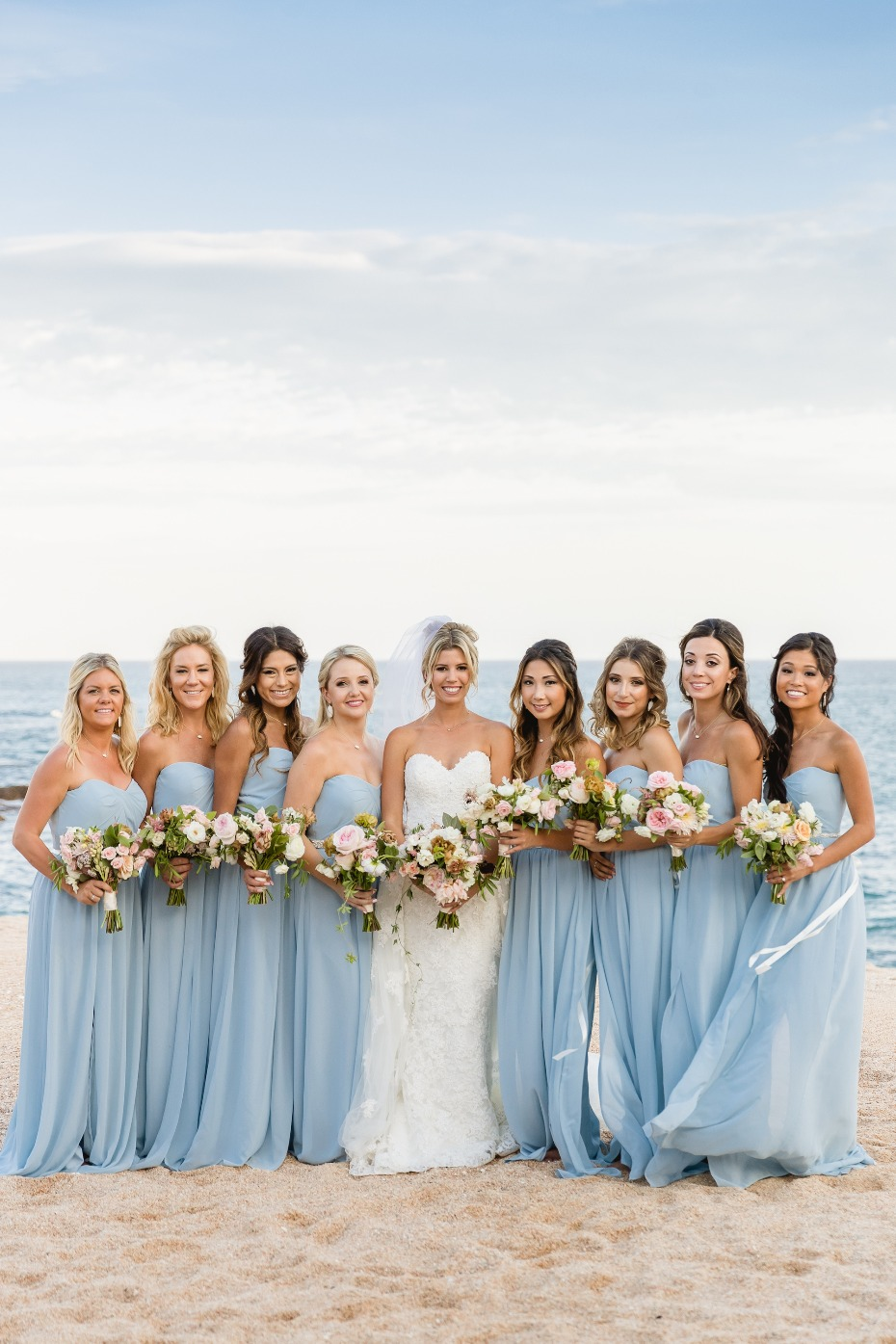 Blue bridesmaid dresses in Mexico