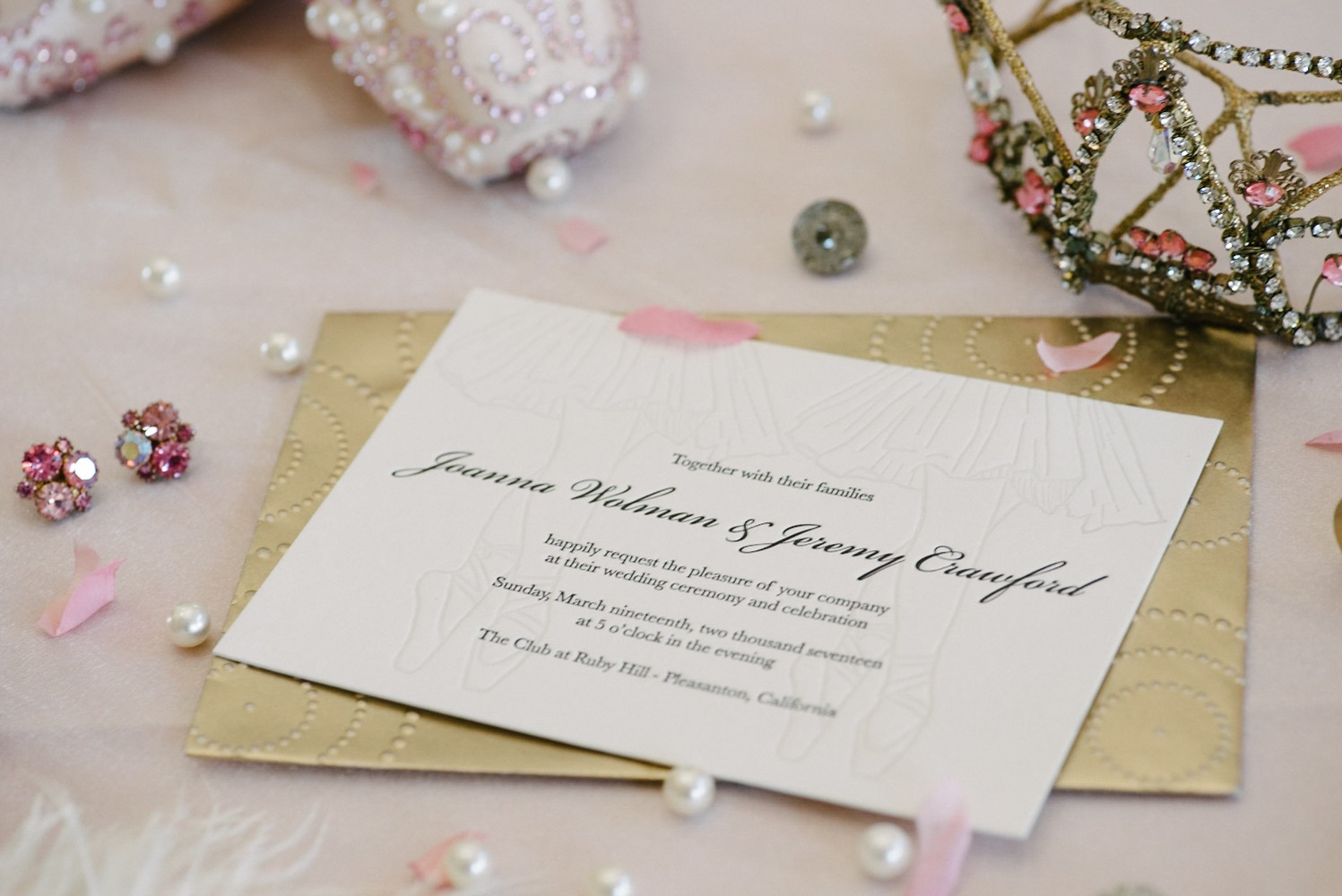 pink and gold ballet inspired wedding invitations