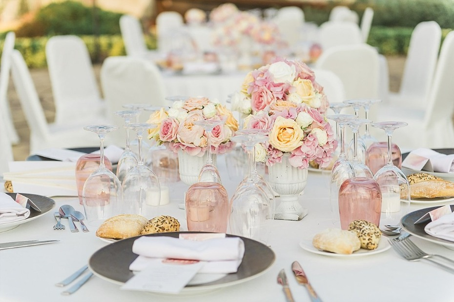 wedding reception table decor in soft pink and blush
