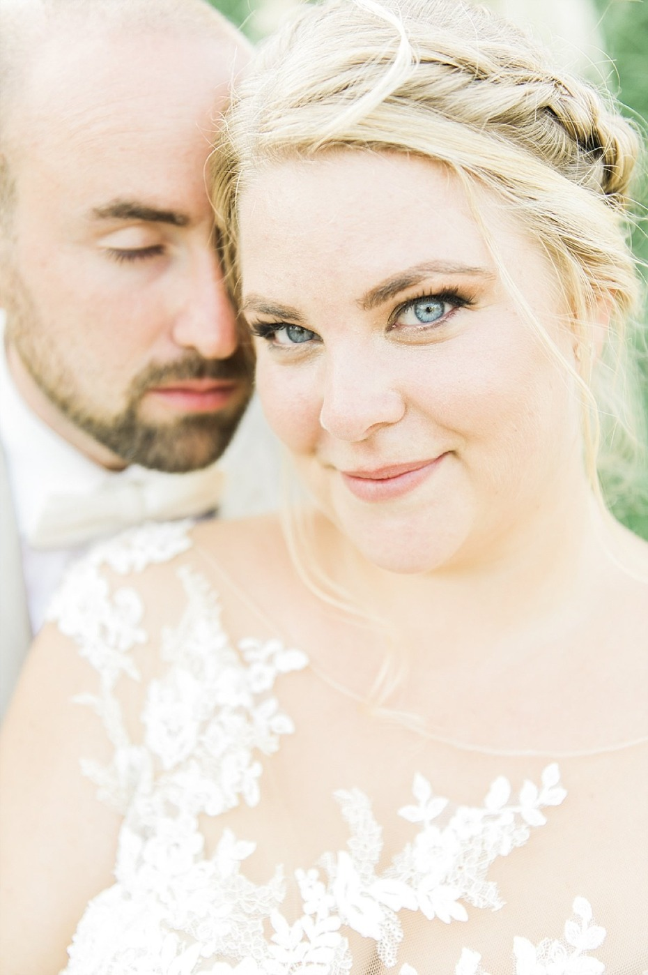 sweet bride and groom wedding photo