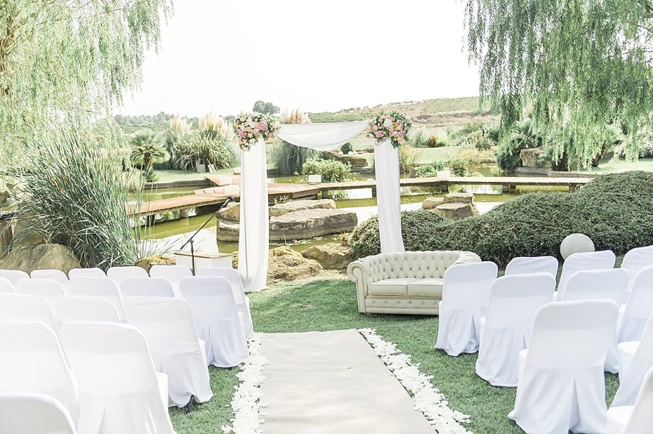 elegant white outdoor wedding ceremony