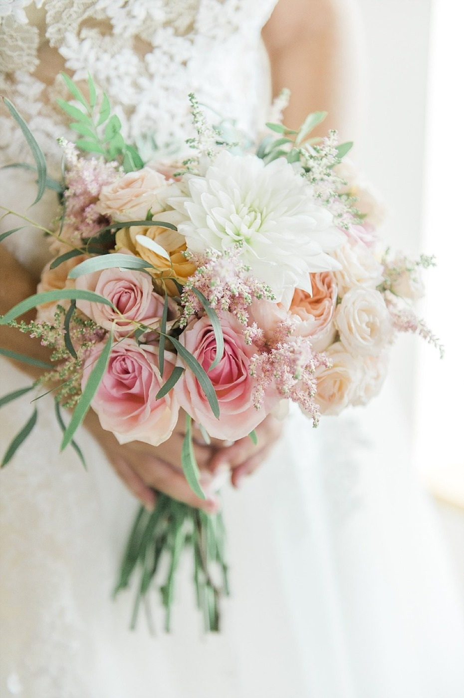 soft pink and blush wedding bouquet