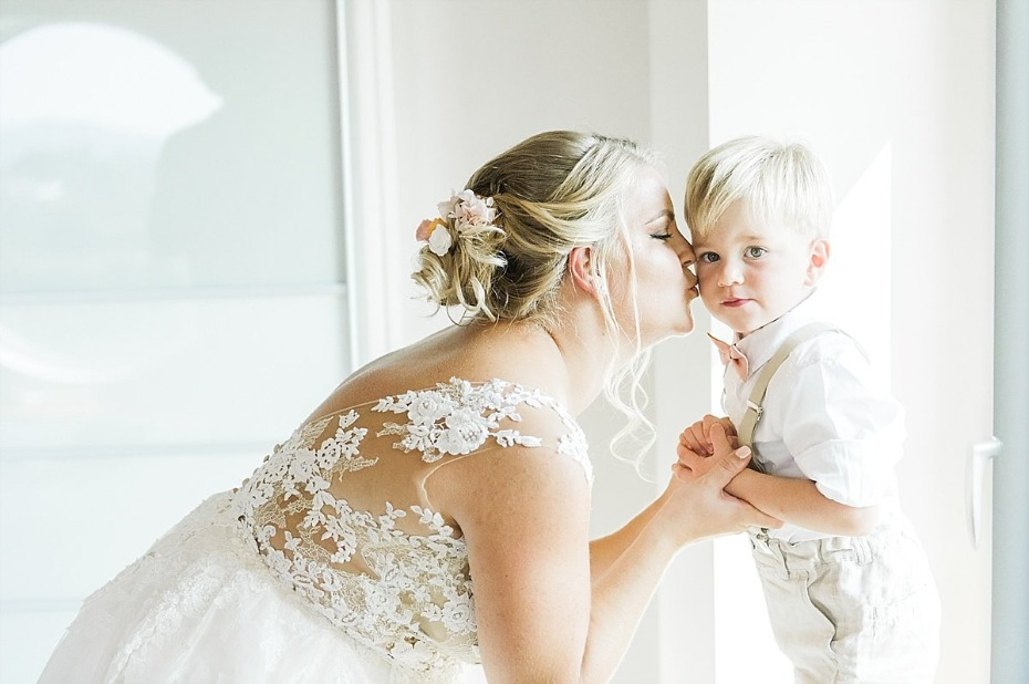 the bride and her little son and ring bearer