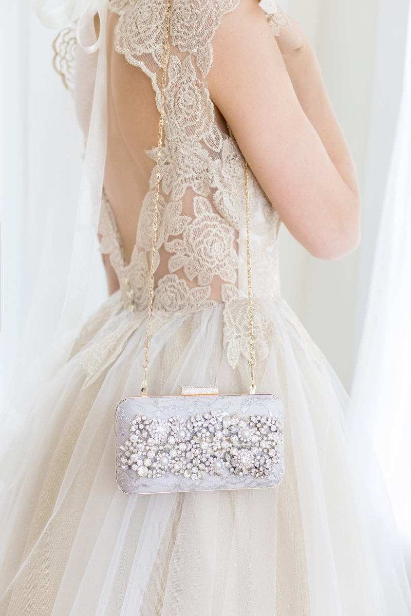 Be unique in your bridal accessories with a bespoke bridal clutch.