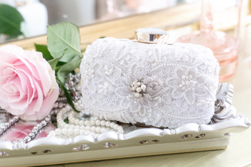 Couture bridal clutches designed by Cloe Noel.