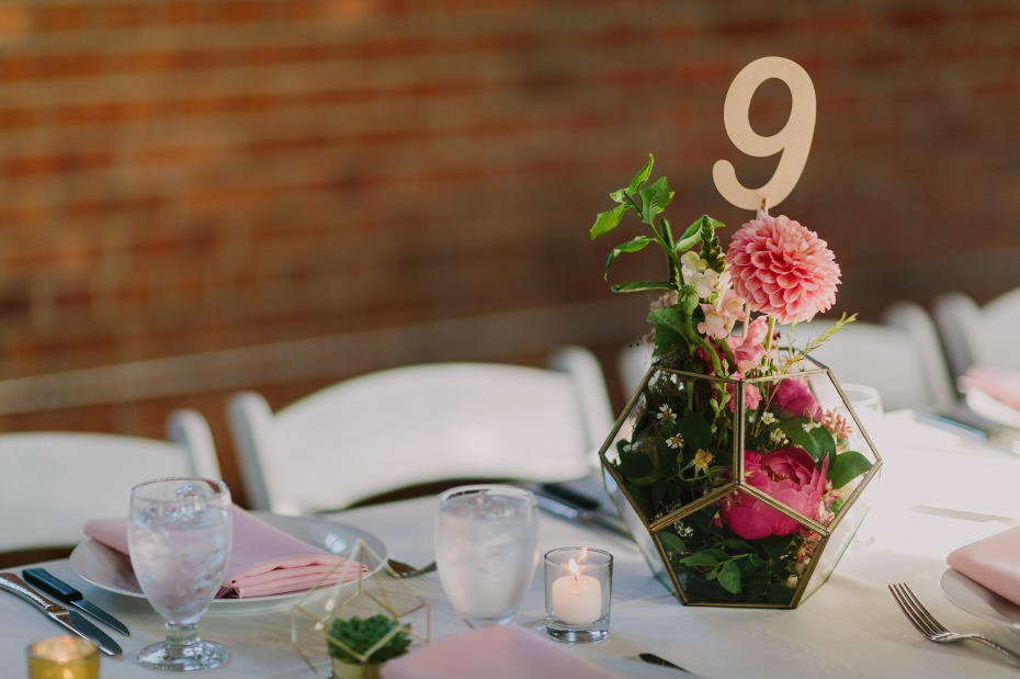 Geometric centerpiece with gold numbers