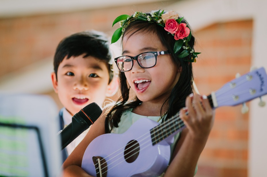 Niece and nephew perform during ceremony
