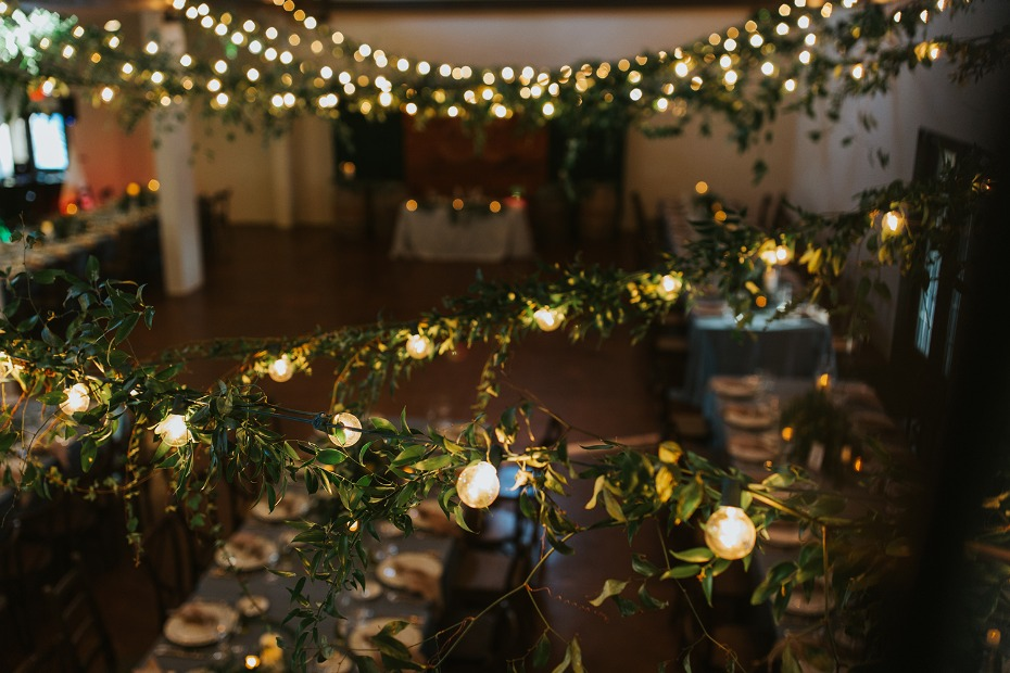 bistro lights wrapped in greenery