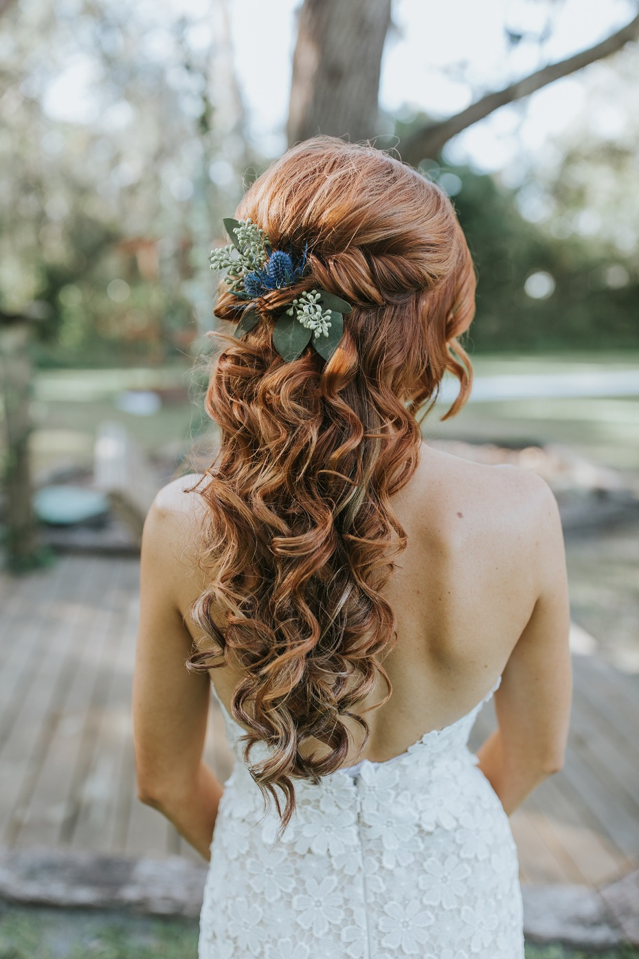 curly half up wedding hair