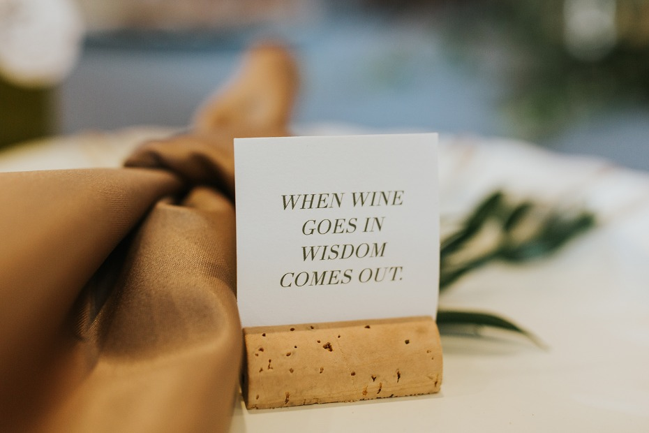 when wine goes in wisdom comes out fun place cards