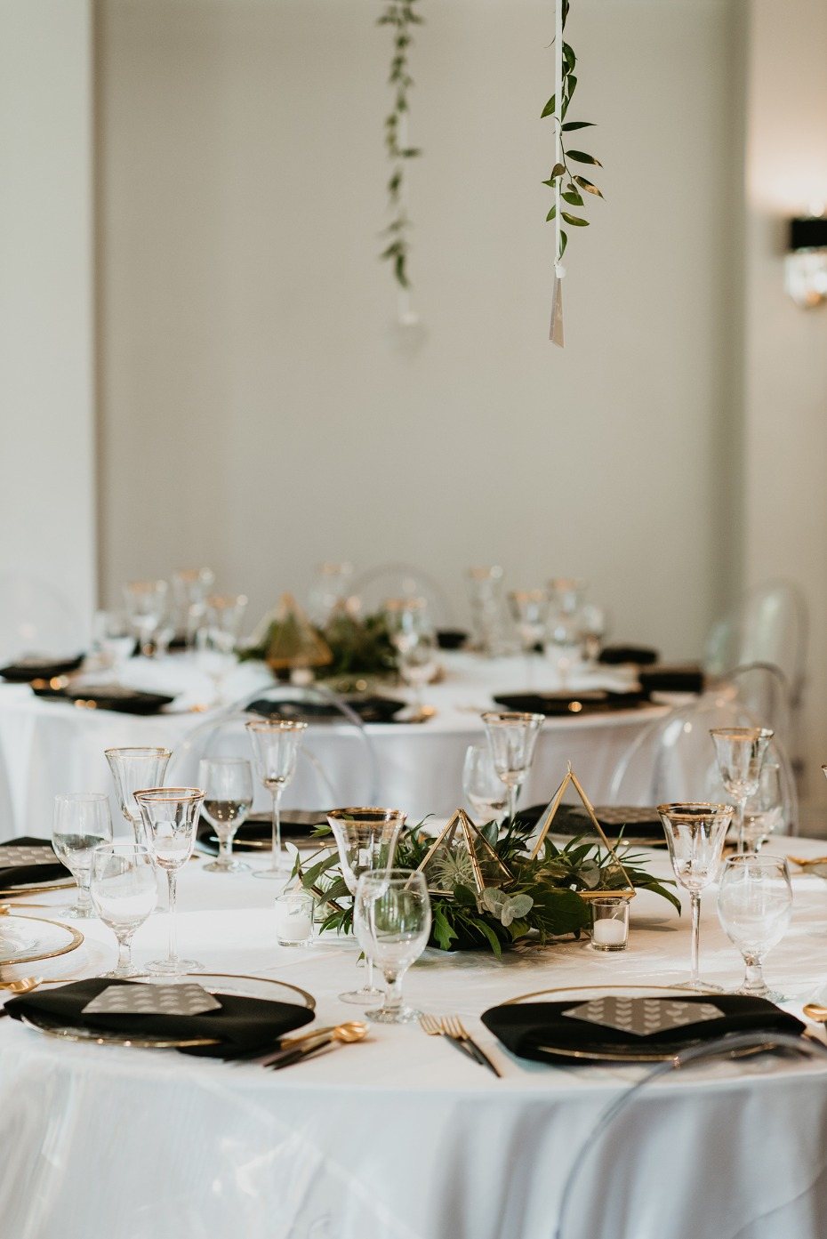 Gold, white, and black table decor