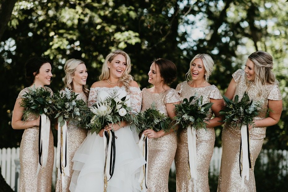 Add some gold sparkle to your bridesmaids look