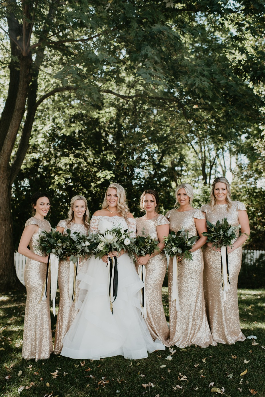 Greenery bouquets and gold sparkle