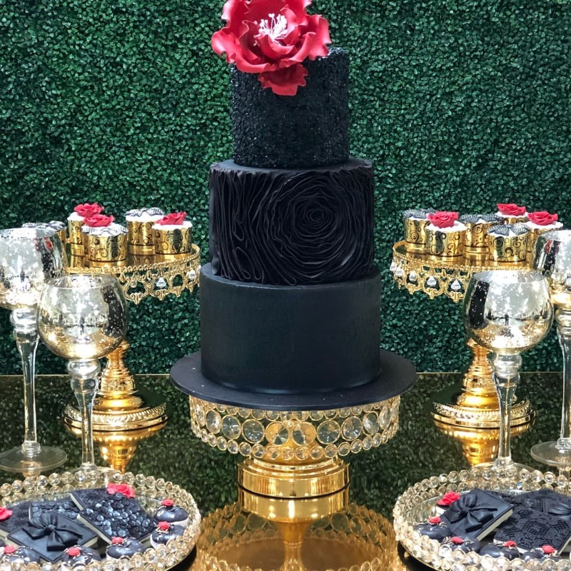 Shiny Gold & Black Elegance! Create a dazzling wedding dessert table with Opulent Treasures collection of gorgeous cake stands