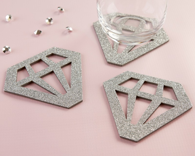 Our Silver Glitter Diamond Shaped Coasters are great to jazz up your bridal shower décor or bachelorette party décor.