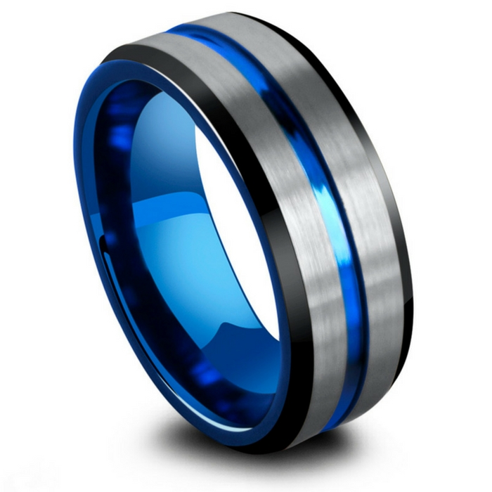 Mens three tone tungsten wedding ring. Black, silver, and blue. The most unique and most durable men's wedding ring.