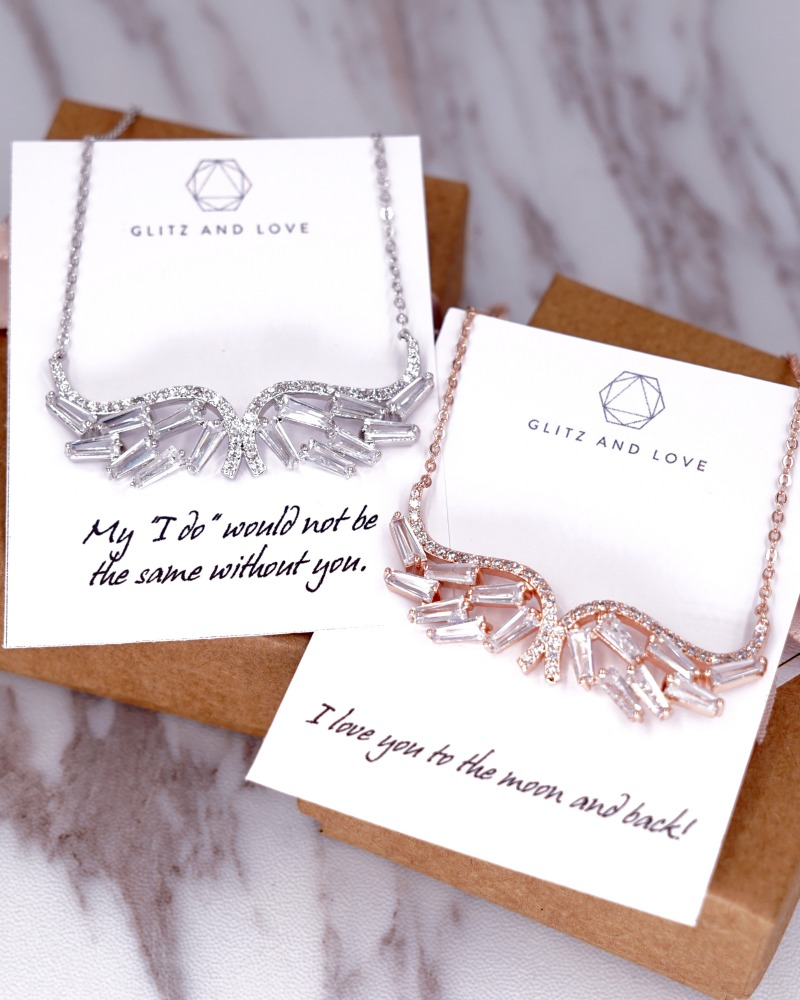 Rose Gold Angel Wing cubic zirconia necklace. Wedding jewelry for Brides, Bridesmaid and bridal parties. Rose gold and Silver. Bridal