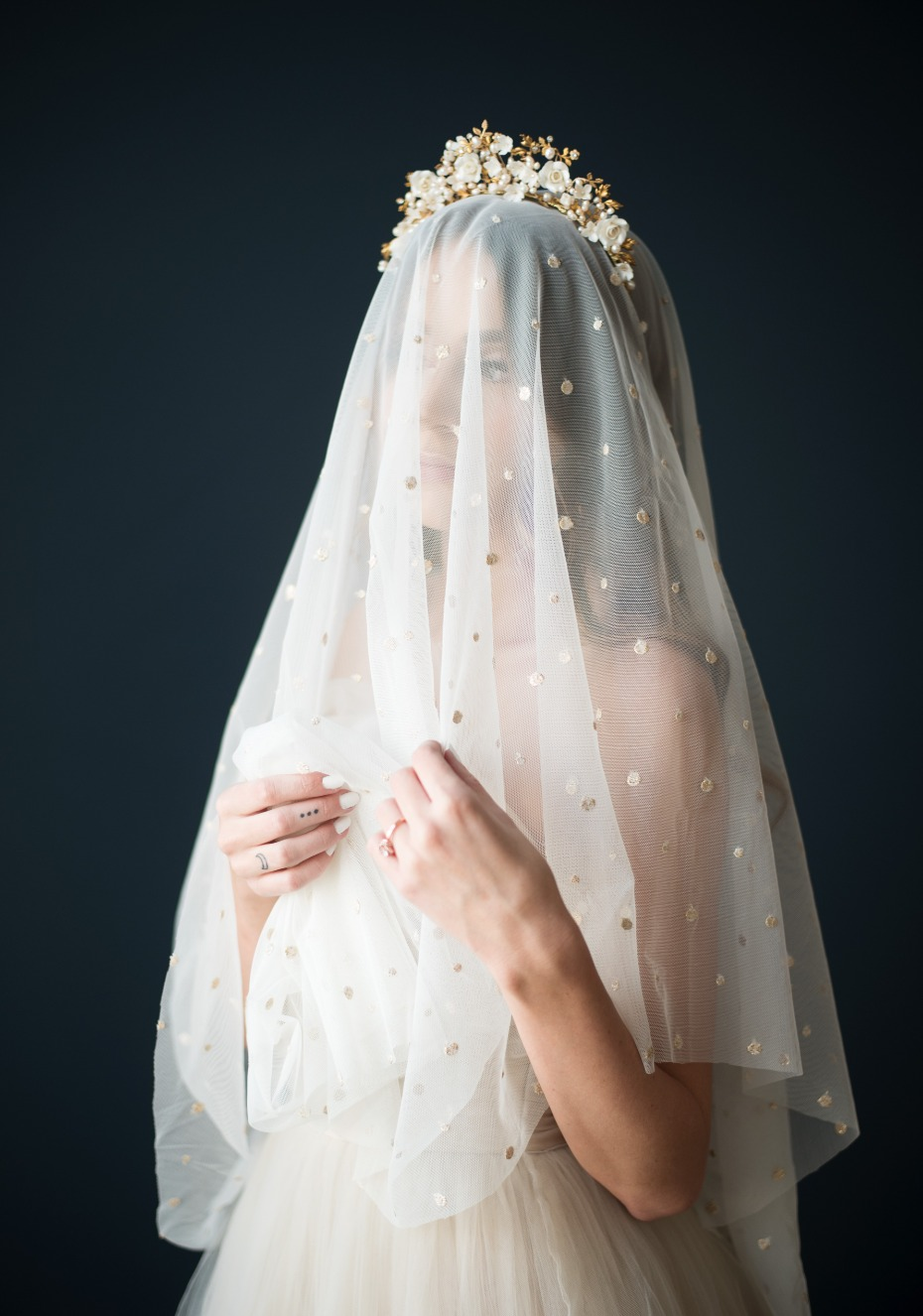 rose gold polka dot wedding veil by Sheeta Design