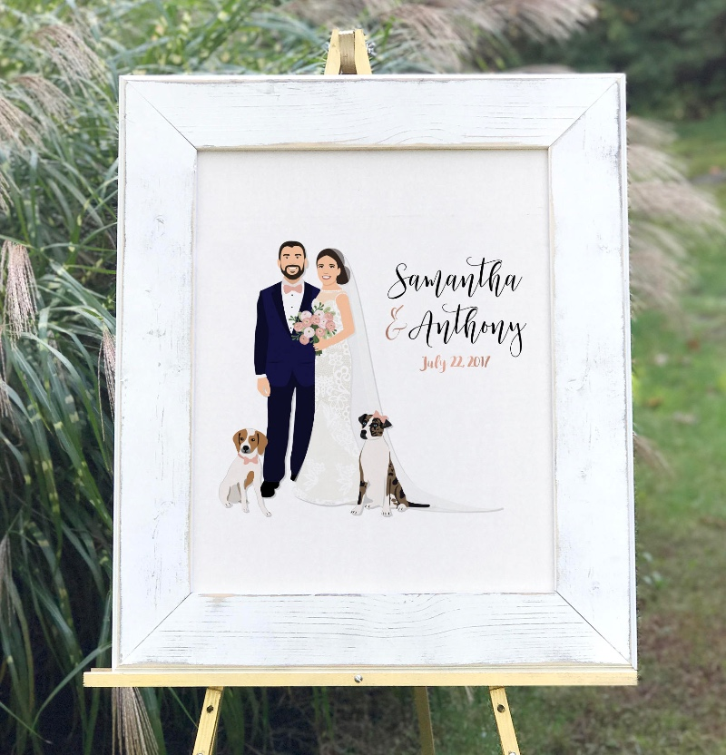 How stunning is this couple with their adorable pups! 🐶 Add this guest book alternative to your wedding for that extra special touch