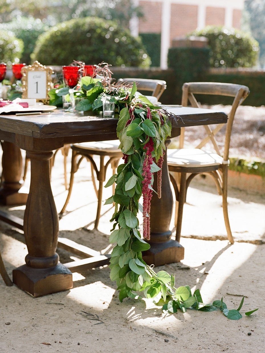 cascading floral garland table centerpiece