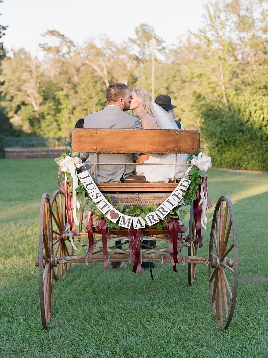 Just married wedding carriage ride