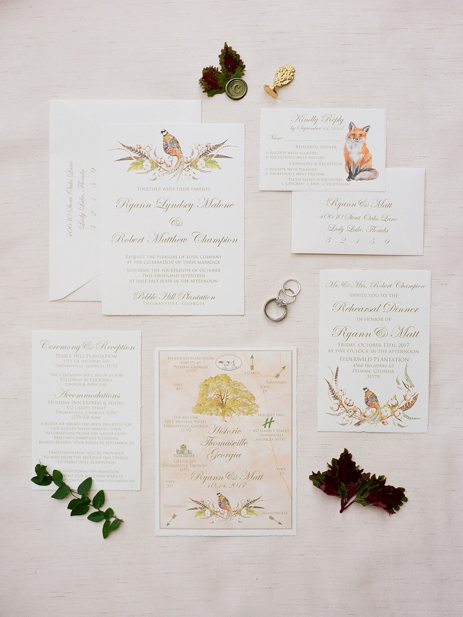 quaint outdoors inspired fall wedding stationery
