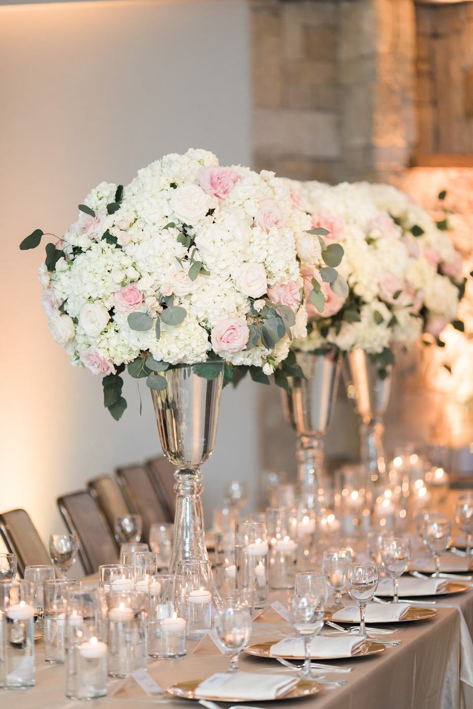 pastel inspired glam wedding reception tables
