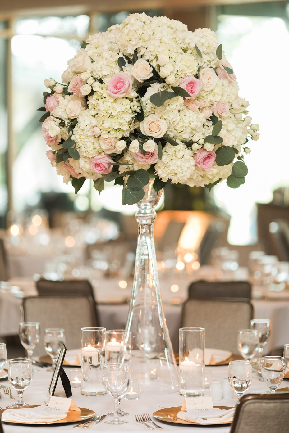 soft pink and white wedding centerpiece