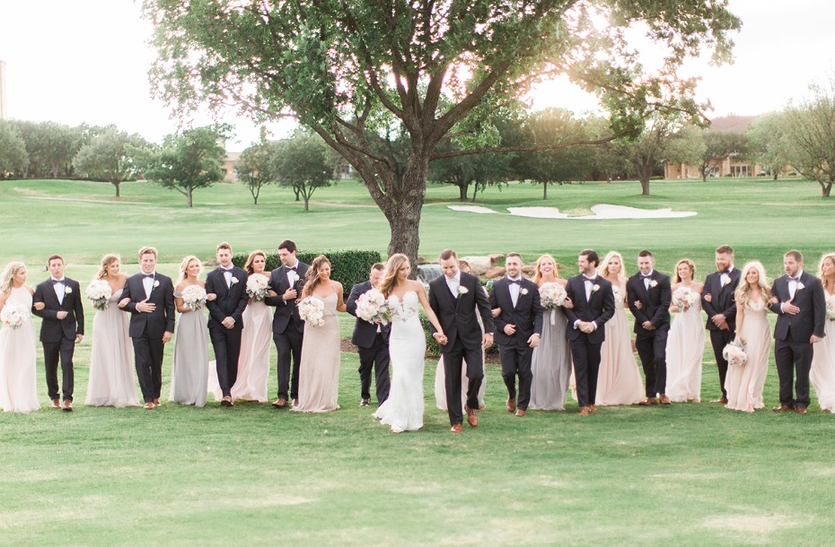 classic style wedding party