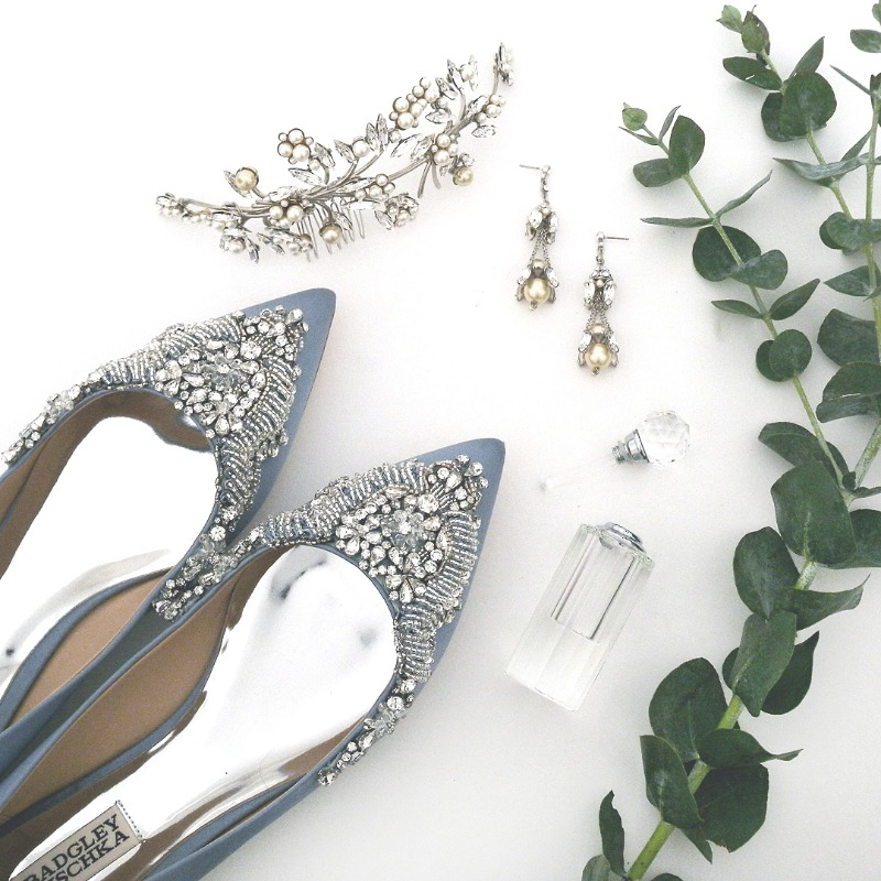 Bride's Favorites. Badgley Mischka flat blue wedding shoes. Bridal headpiece and earrings by Debra Moreland for Paris. View all our