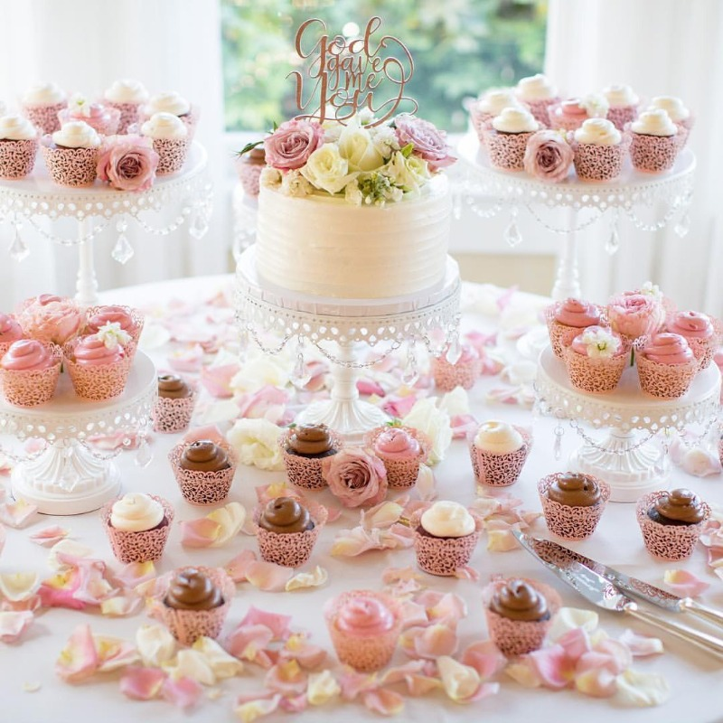 Pretty Wedding Dessert Tables with White Chandelier Cake Stands created by Opulent Treasures