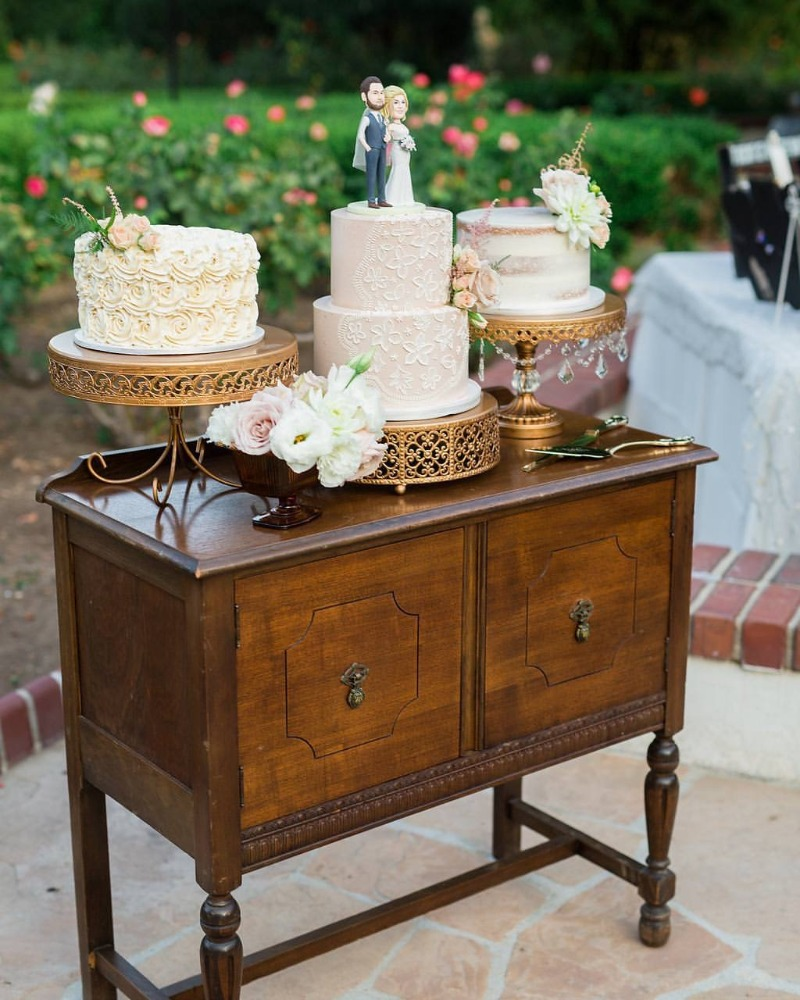 Antique Gold Cake Stands on Vintage Table for a lovely Wedding Cake Table