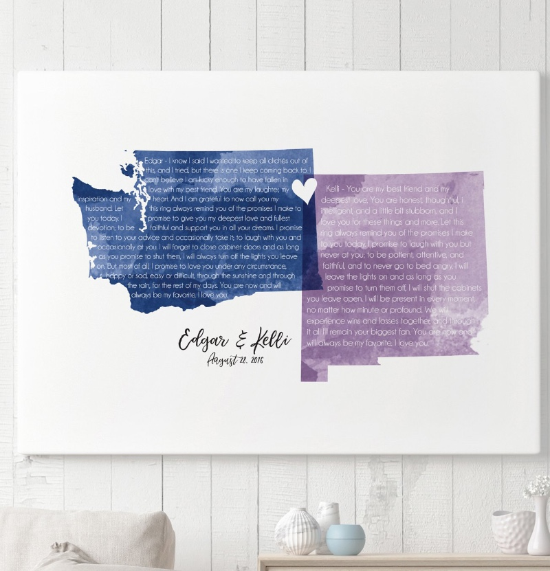 Miss Design Berry's wedding vow art is customized with the two states or countries of your choice in the colors of your choice, and