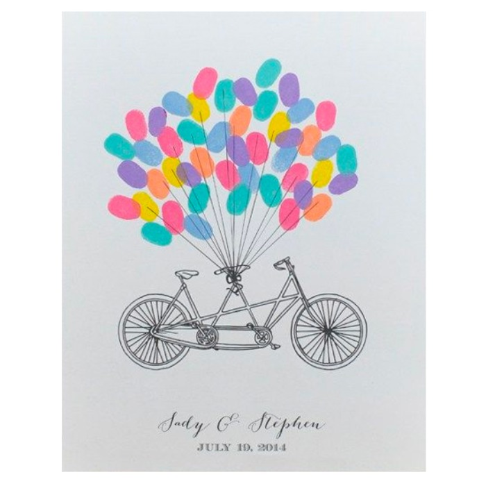 Print: Bicycle Free Printable Wedding Guestbook Poster