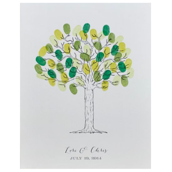 Print: Free Printable Tree Thumbprint Wedding Guestbook Poster
