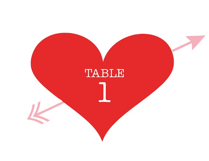 Print: Heart and Arrow Free Printable Table Number