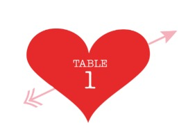 Heart and Arrow Free Printable Table Number