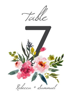 Blush Modern Table Number