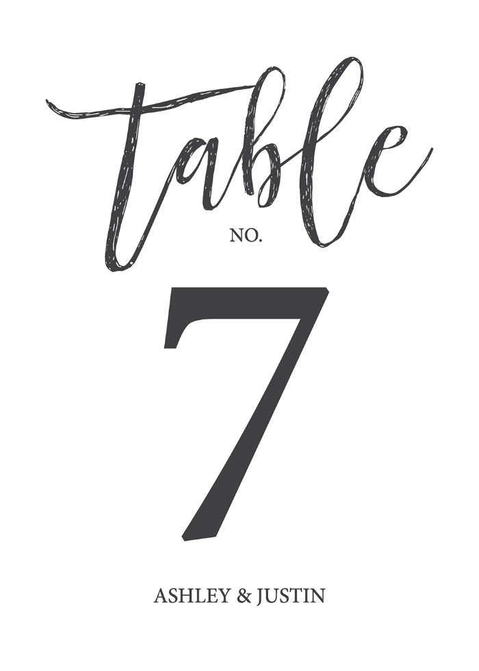 Print: Timeless And Simple Table Number
