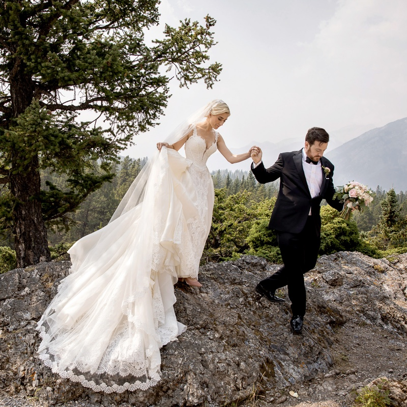 Beautiful Banff mountain wedding! They had a romantic castle wedding at the Banff Springs Hotel!