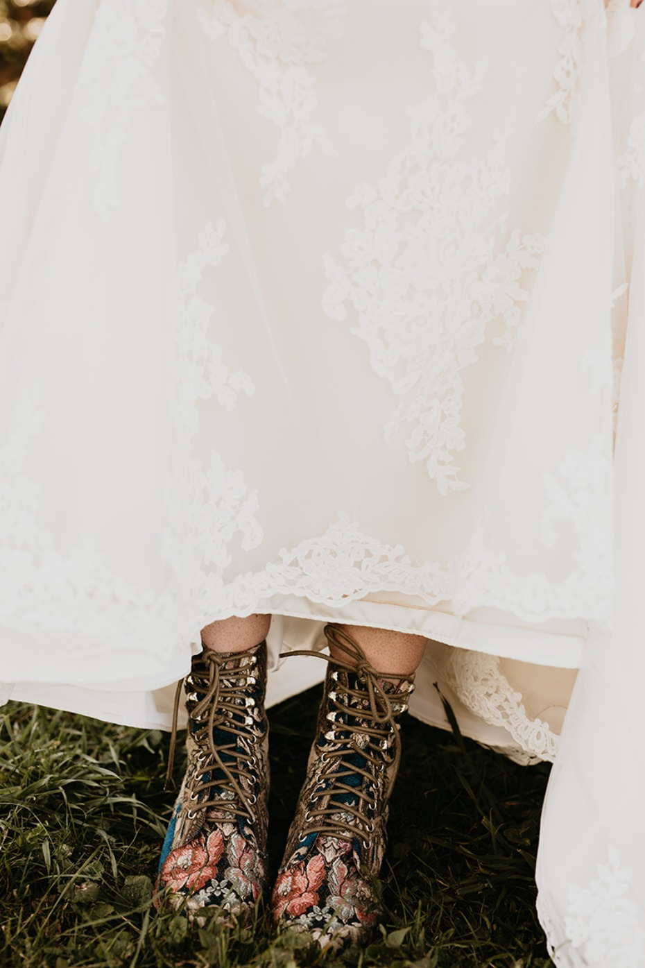 Floral boots for the bride