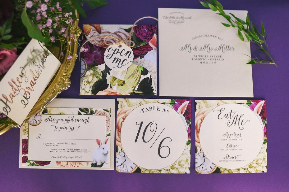 floral Alice in Wonderland themed wedding stationery