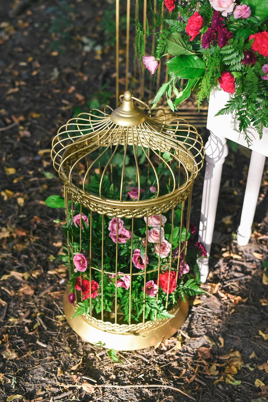 flowers in antique bird cage