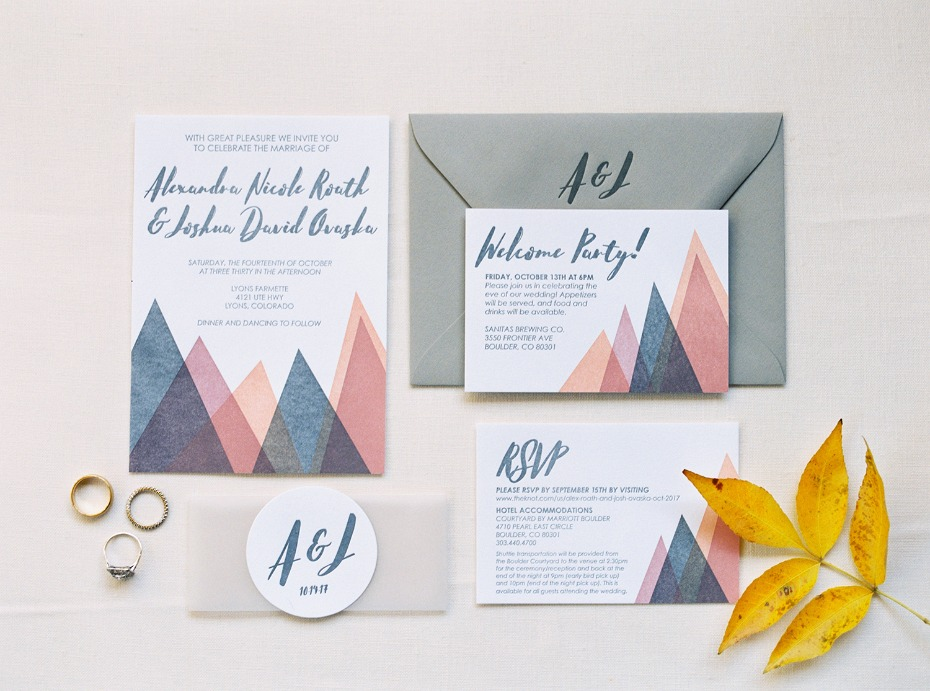 tissue paper mountain themed wedding invitations