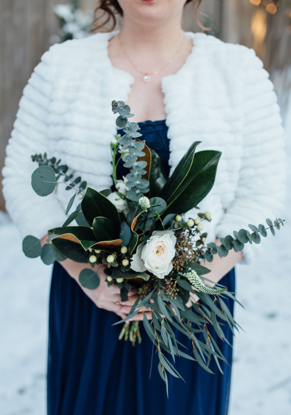 Bridesmaid bouquet for a winter wedding