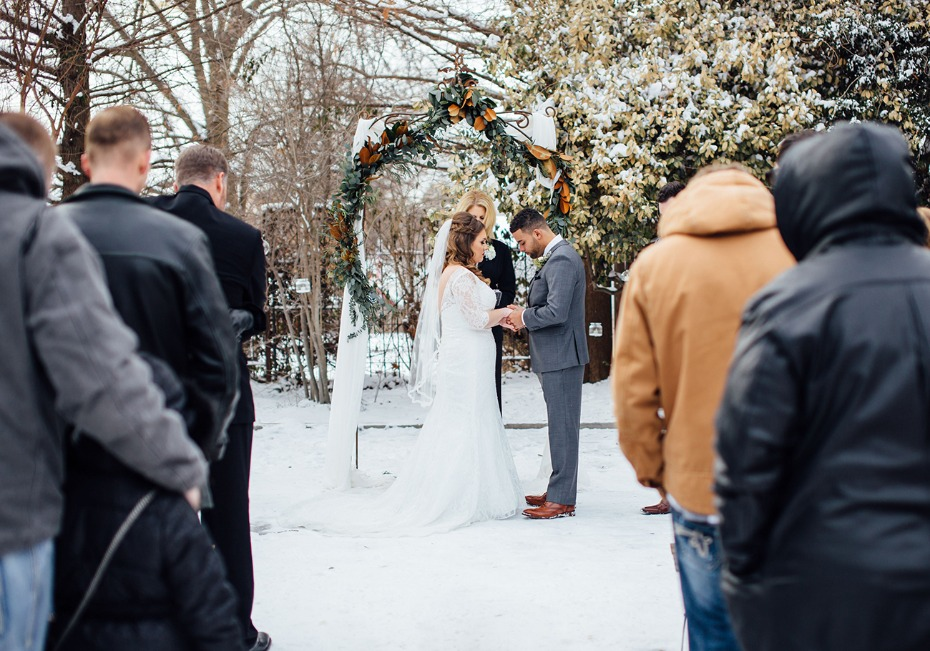 Just married outdoor winter wedding